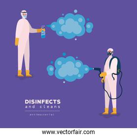 Men spraying with protective suits gloves and bottle vector design