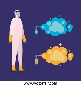Man spraying with protective suit gloves and bottles vector design