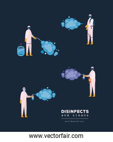 Men spraying with protective suits gloves and bottles vector design