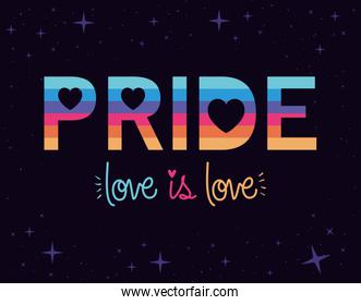 lgtbi pride and love is love text vector design