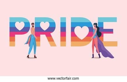 Men cartoons with costumes and lgtbi pride text vector design