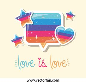 lgtbi bubble heart stars and love is love text vector design