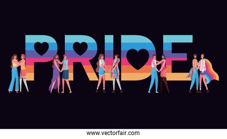 Women and men cartoons with costumes and lgtbi pride text vector design