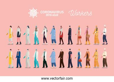 Men and women workers with uniforms and masks vector design
