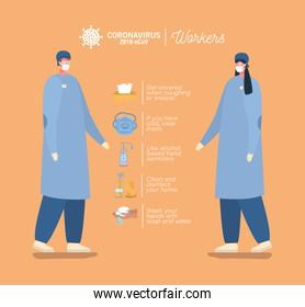 male and female doctors with masks and prevention tips vector design