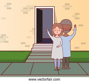 Couple of woman and man in front of wall with door vector design