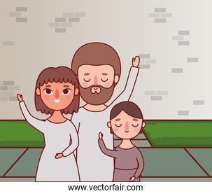 Mother father and daughter in front of wall vector design
