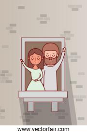 couple of woman and man cartoon at window vector design