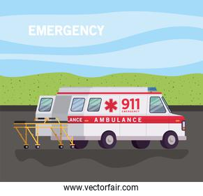 Ambulance with stretcher on street vector design
