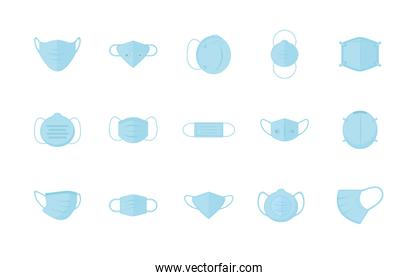 Medical blue masks set vector design