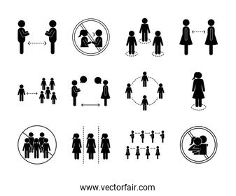 Social distancing silhouette style icon set vector design