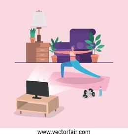 Woman doing yoga on mat in front of computer vector design