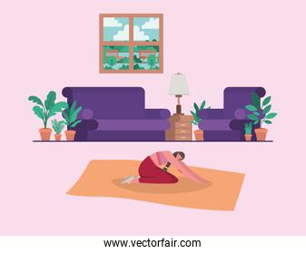 Woman doing yoga at home vector design