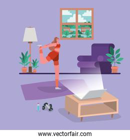 Woman doing yoga on mat in front of laptop vector design