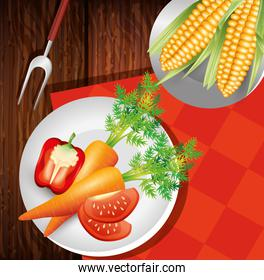 dishes with fresh vegetables, healthy lifestyle or diet