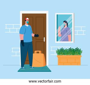 safe contactless delivery to home to prevent the spread of coronavirus 2019 ncov, woman at window