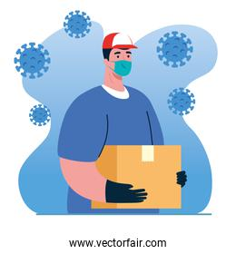 safe delivery, courier worker using face mask