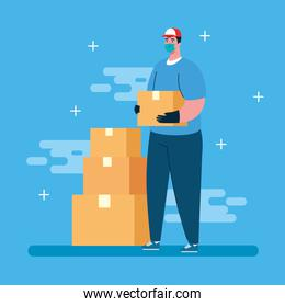 safe delivery, courier worker using face mask with boxes packages