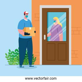 safe contactless delivery to home to prevent the spread of coronavirus 2019 ncov, woman at door