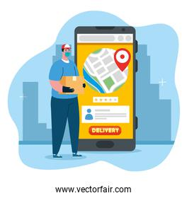 online delivery service concept, during coronavirus 2019 ncov, worker with smartphone