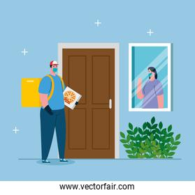 safe contactless delivery to home to prevent the spread of coronavirus 2019 , woman at window