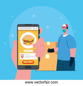 online delivery service concept, during coronavirus 2019ncov, smartphone with app food and worker