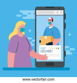 online delivery service concept, during coronavirus 2019 ncov, smartphone and app, fast delivery