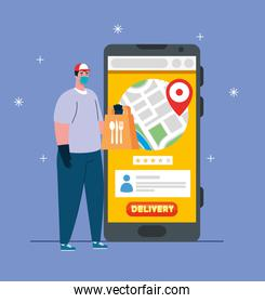 online delivery service concept, during coronavirus 2019ncov