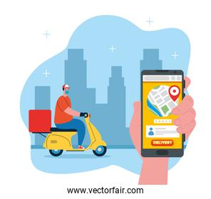 online delivery service concept, track delivery, during coronavirus 2019 ncov, worker in motorcycle