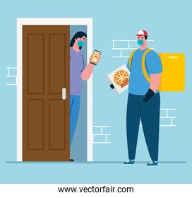 online delivery service concept, delivery home, during coronavirus 2019ncov