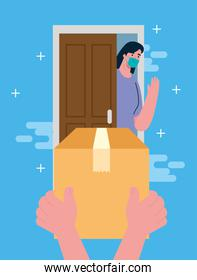 safe contactless delivery courier by covid 19, woman in door, hands with box package