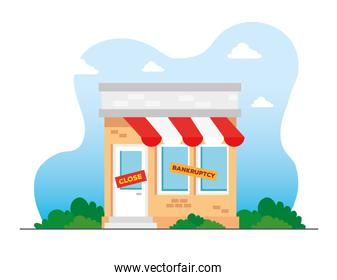 store shop in bankrupt and close, locked door on a business that has gone bankrupt