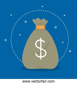 money bag, money bag simple cartoon and dollar sign in blue background