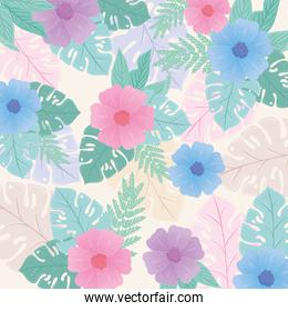 background, tropical nature leaves with flowers of pastel color