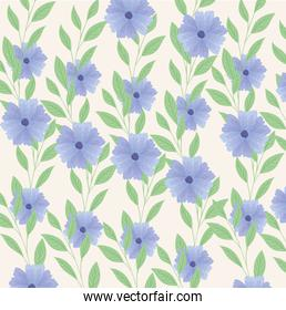 background, tropical nature branches and leaves with flowers of pastel color