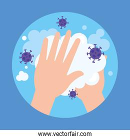 Hands washing with soap and covid 19 virus vector design