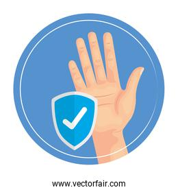 Hand with check mark shield vector design