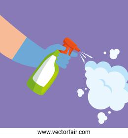 Hands holding spray and smoke vector design