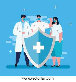 ccouple and doctor wearing face mask against covid 19, coronavirus disease, health care and safety