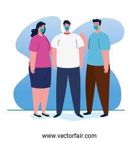 group people using medical protective mask against covid 19