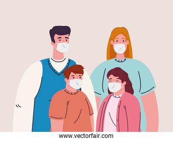 family wearing medical mask for prevent coronavirus covid 19