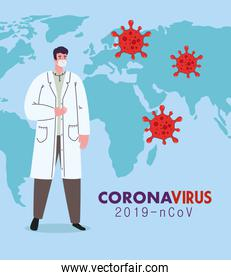 doctor wearing medical mask against coronavirus 2019 ncov with world map and particles covid 19