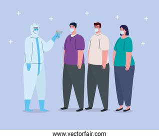 covid 19 coronavirus, person with biohazard suit holding infrared thermometer to measure body temperature, group people in check temperature