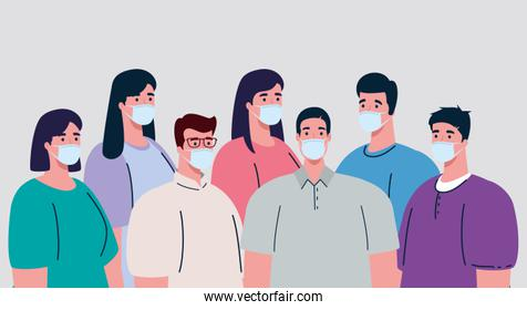 group of people wearing medical mask to prevent coronavirus covid 19