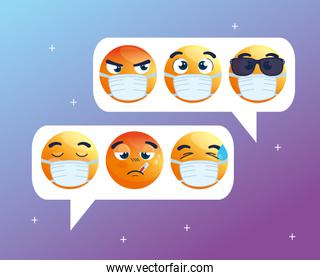 speech bubbles with set of emoji crying wearing medical masks, chat social media, icons for covid 19 coronavirus outbreak