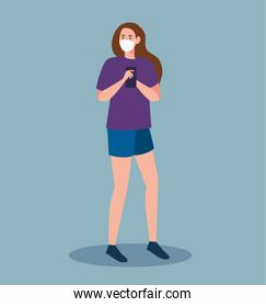 young woman wearing medical mask against covid19 using smartphone, social media coronavirus concept