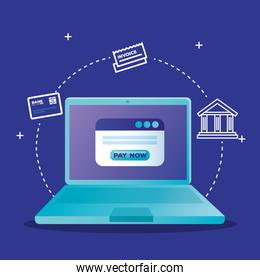 laptop and website with pay now button vector design