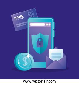 Smartphone coin credit card and envelope vector design