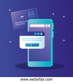 Smartphone credit card and website with pay now button vector design