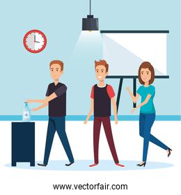 Businesspeople at office with hands sanitizer vector design